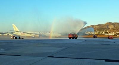 El vuelo inaugural Málaga - Baréin de Gulf Air aterriza en Málaga