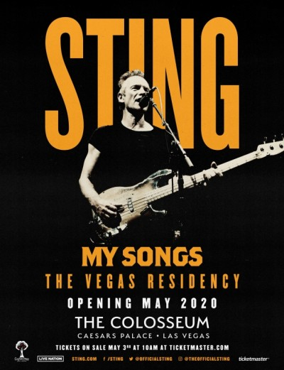 Sting aterriza en el The Colosseum del Caesars Palace